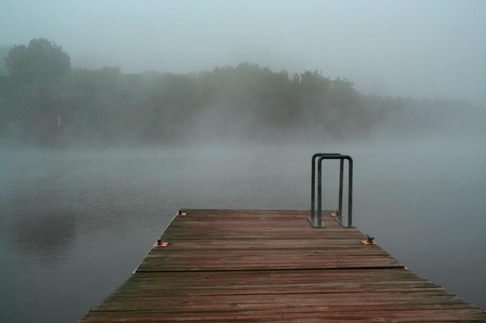 Download Free Stock Photo of Lake Dock in Fog