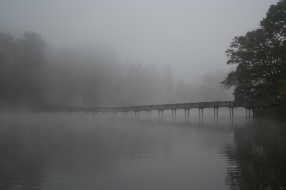 Download Free Stock HD Photo of Footbridge Over Lake in Fog  Online