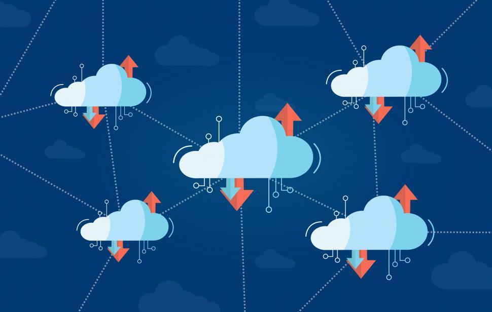 Download Free Stock Photo of Interconnected Virtual Cloud Concept with Multiple Clouds