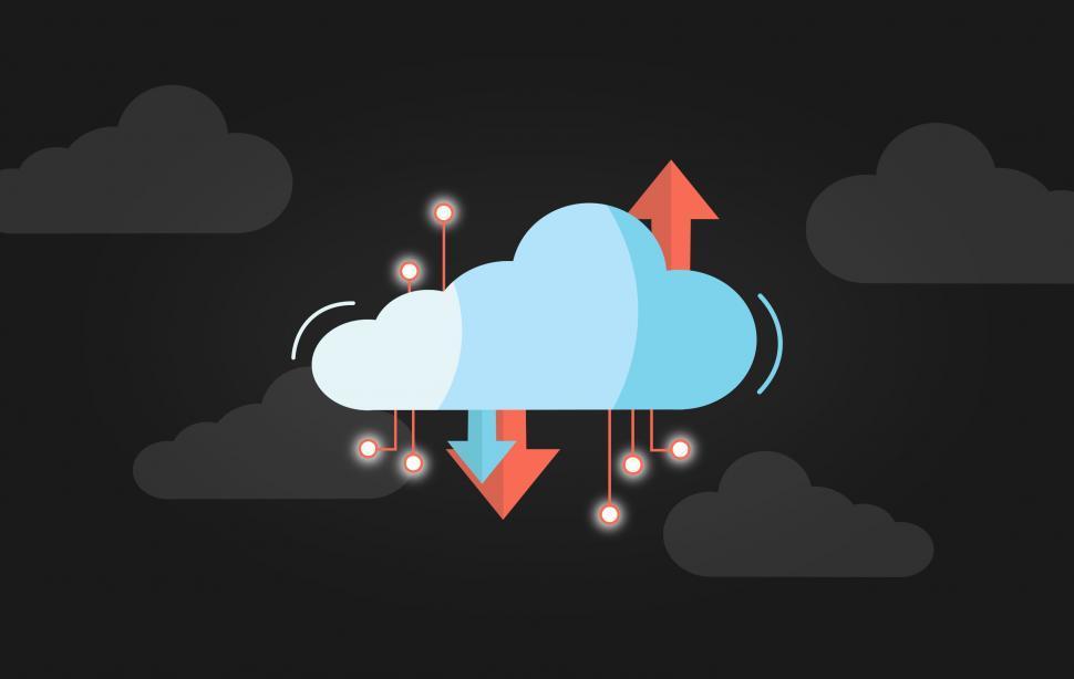 Download Free Stock Photo of Virtual Cloud Concept - Dark Version