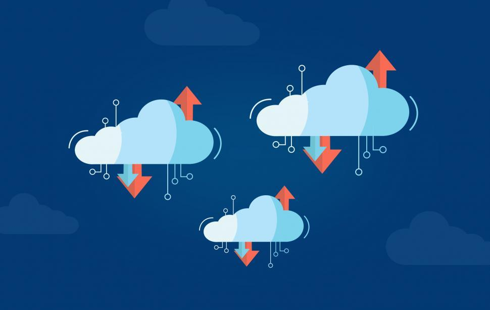Download Free Stock Photo of Virtual Cloud Concept with Multiple Clouds