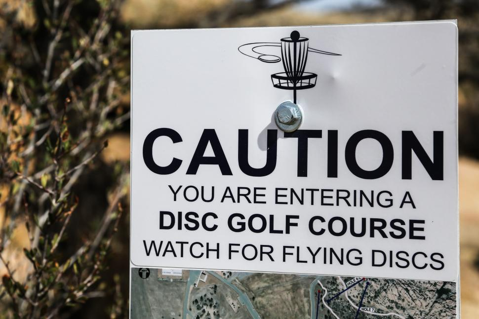 Download Free Stock HD Photo of Disk golf warning sign Online