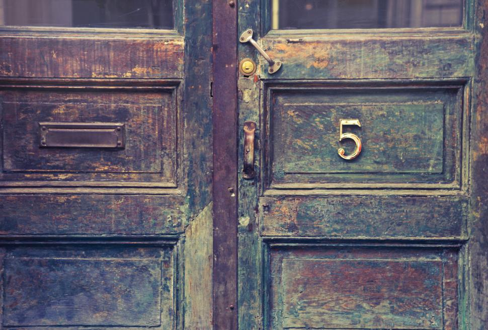 Download Free Stock Photo of Old wooden entrance doors with metal door number sign and mail h