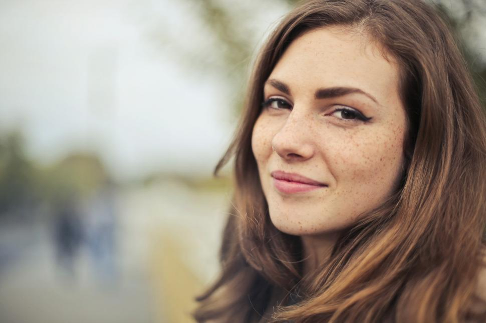 Download Free Stock Photo of A caucasian woman posing with a smile