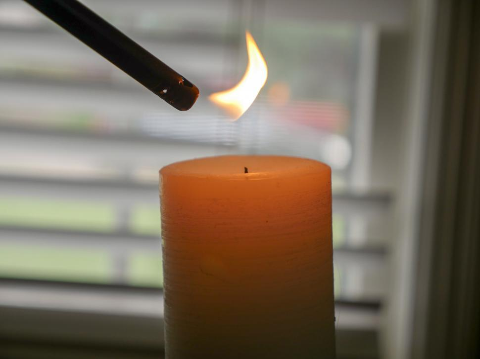 Download Free Stock Photo of White candle and flame