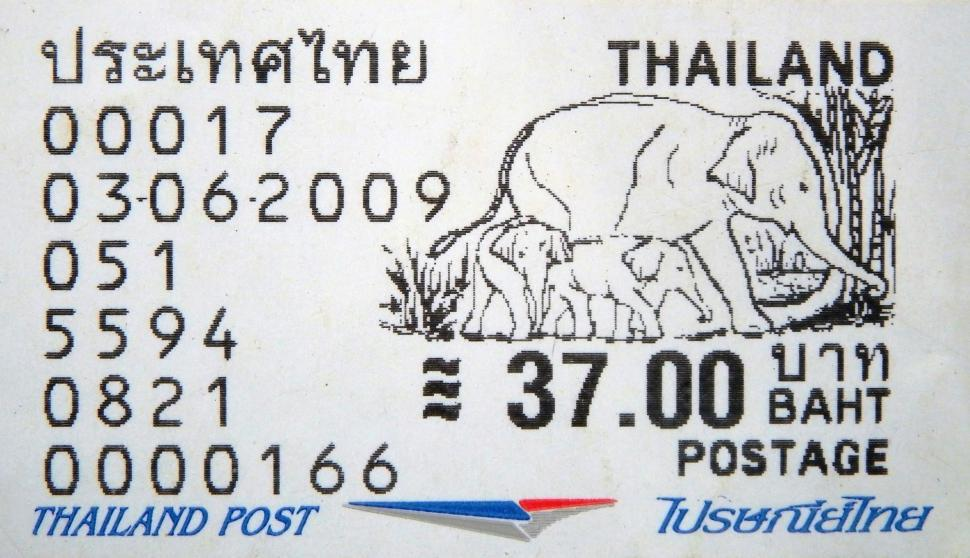 Download Free Stock Photo of Postage Stamp from Thailand Featuring an Elephant Illustration