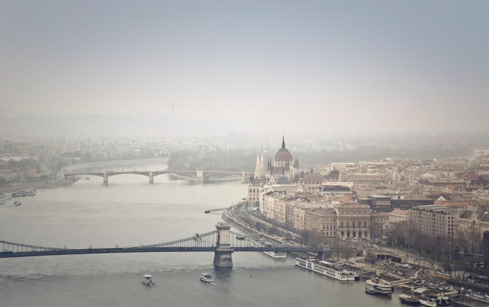Download Free Stock Photo of Aerial View Of Chain Bridge and Budapest, Hungary