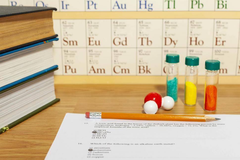 Download Free Stock HD Photo of Chemistry Quiz with chemicals Online