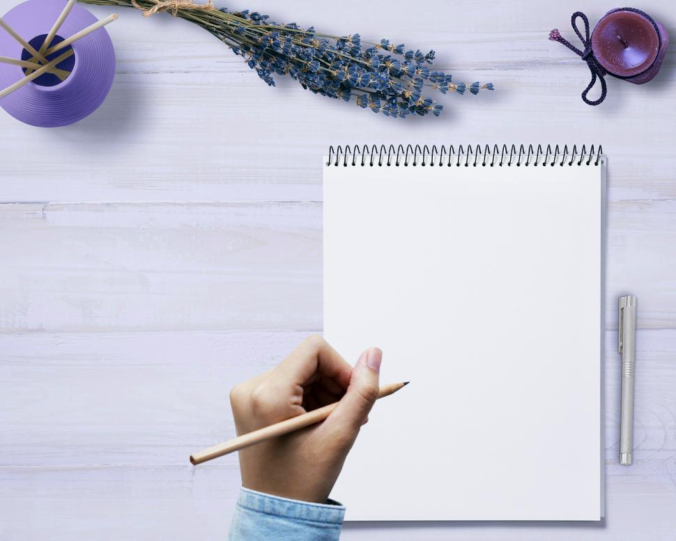 Download Free Stock Photo of empty notebook with copyspace