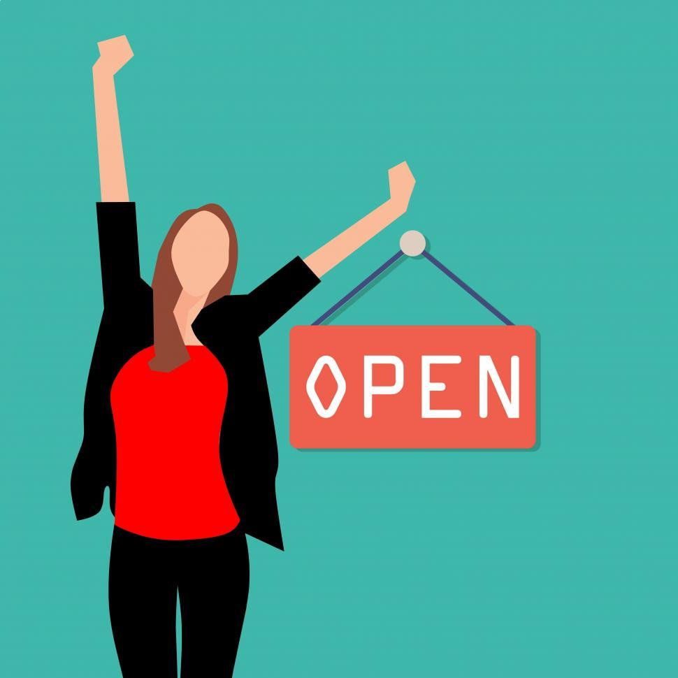 Download Free Stock HD Photo of woman with open sign Online