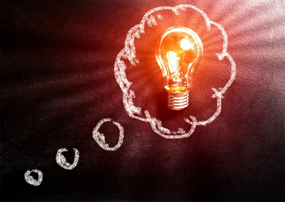 Download Free Stock Photo of Thought Concept with Light Bulb Over Blackboard