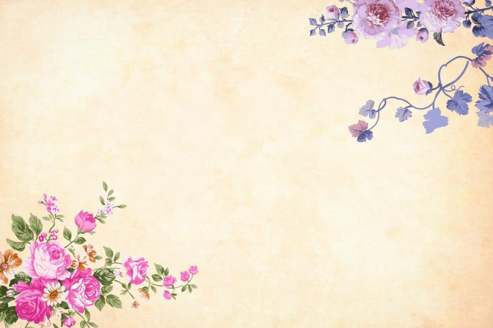Download Free Stock Photo of Background - Flowers on the Corners
