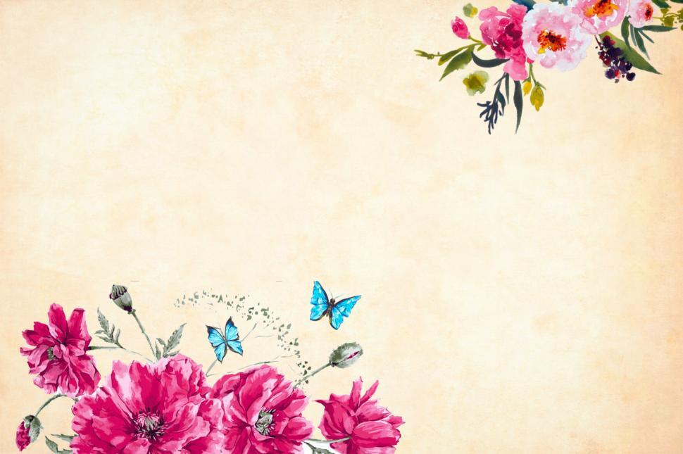 Download Free Stock HD Photo of Flower Background with Butterflies Online