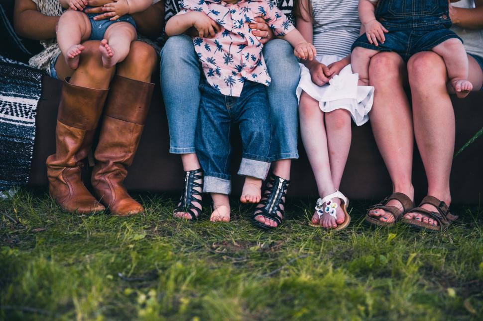 Download Free Stock HD Photo of Family feet in the garden Online