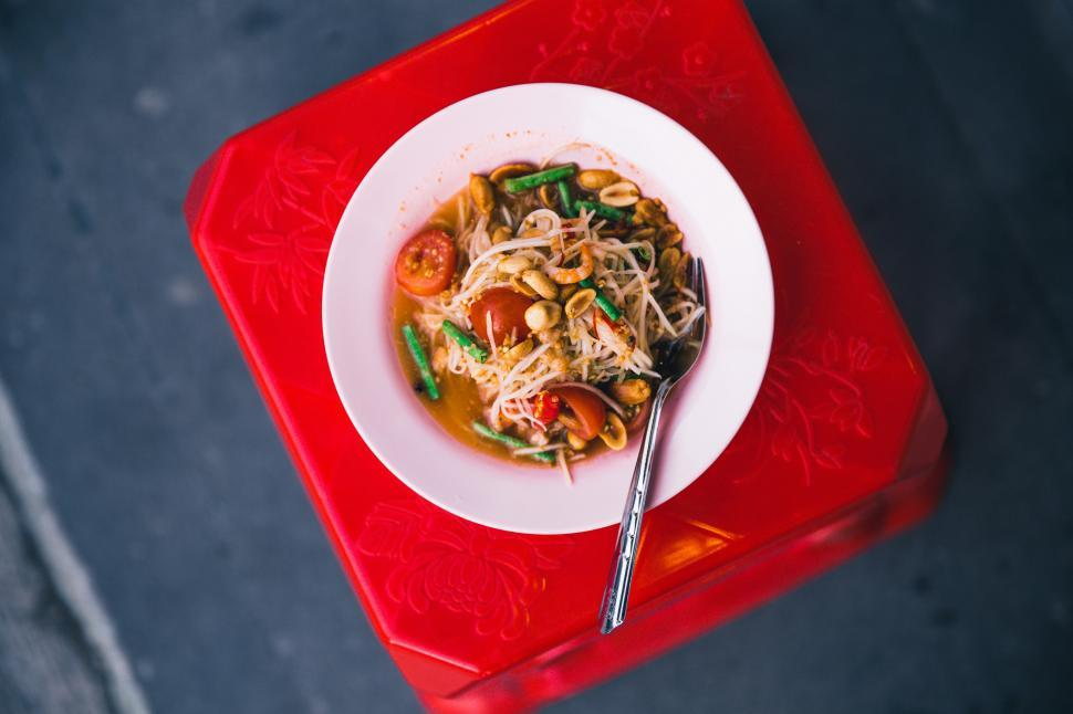 Download Free Stock HD Photo of Close-up of plated Pad Thai noodles Online
