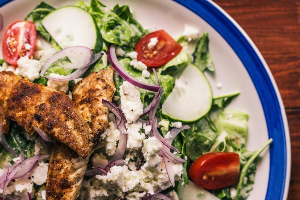Download Free Stock HD Photo of Close-up of plated salad with chicken Online