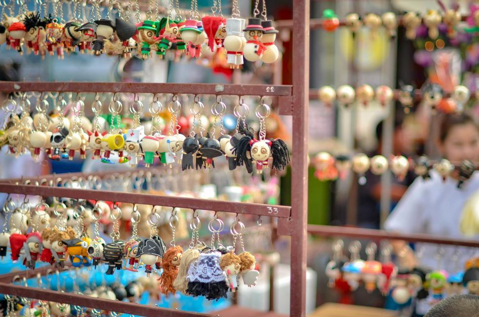 Download Free Stock HD Photo of Gifts in the local market - keychains Online