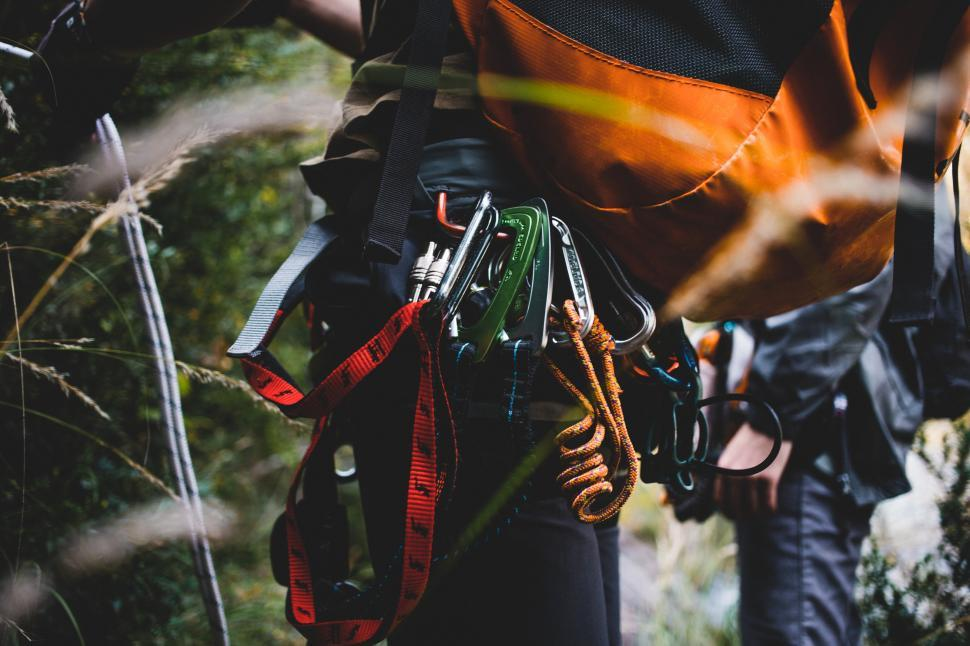 Download Free Stock Photo of A climber s backpack and carabiner