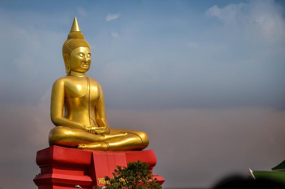 Download Free Stock Photo of Large Gold Buddha Statue