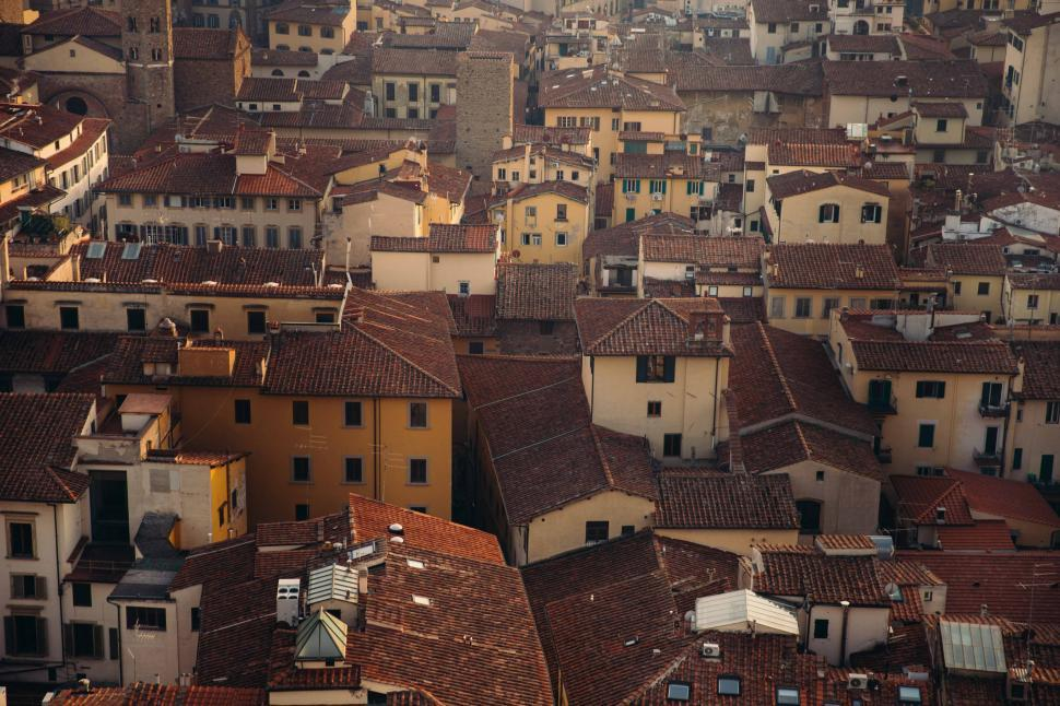 Download Free Stock HD Photo of Aerial view of clay rooftops Online
