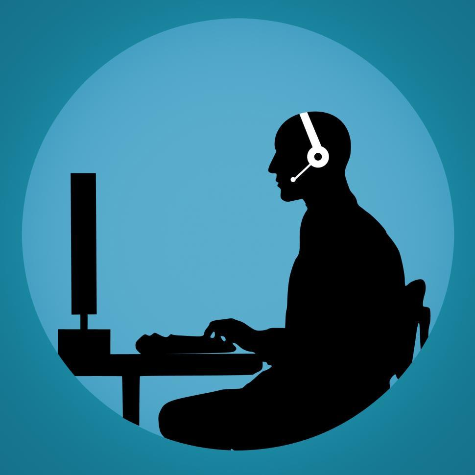 Download Free Stock Photo of call center Silhouette