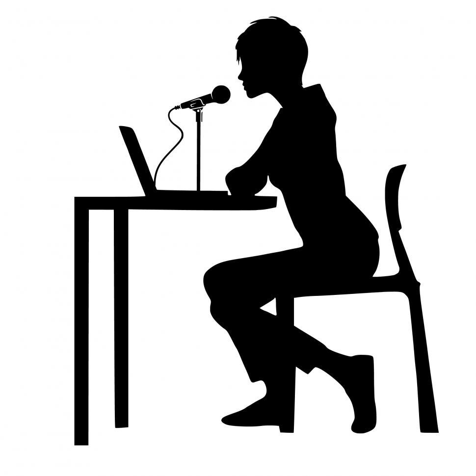Download Free Stock Photo of woman public speaking Silhouette