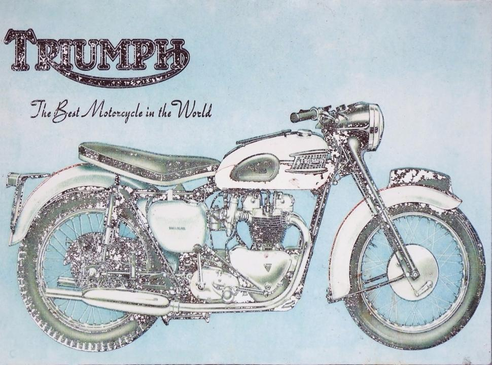 Download Free Stock HD Photo of Vintage aged advertising sign board for the Triumph motorcycle brand  Online