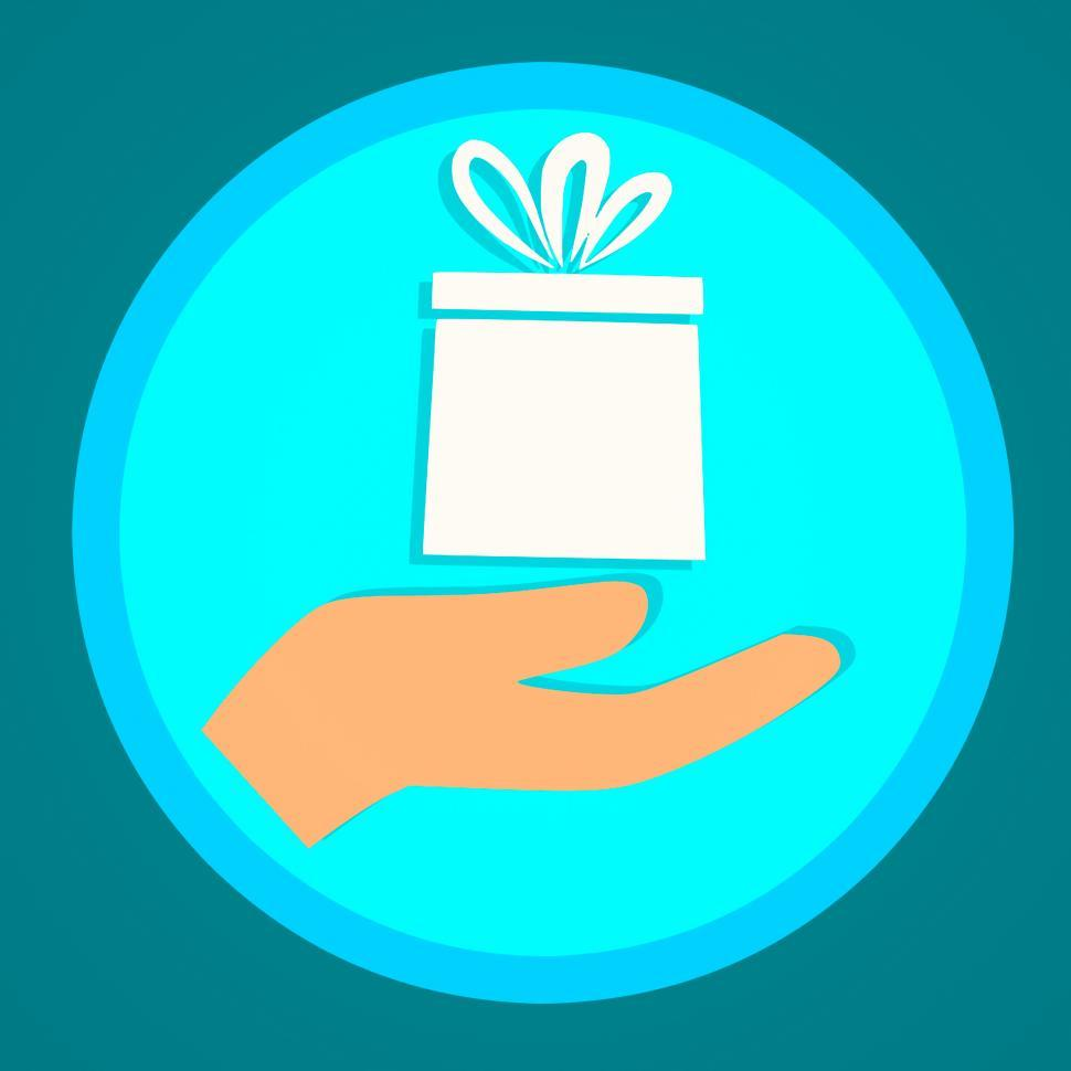 Download Free Stock Photo of hand and gift box Illustration