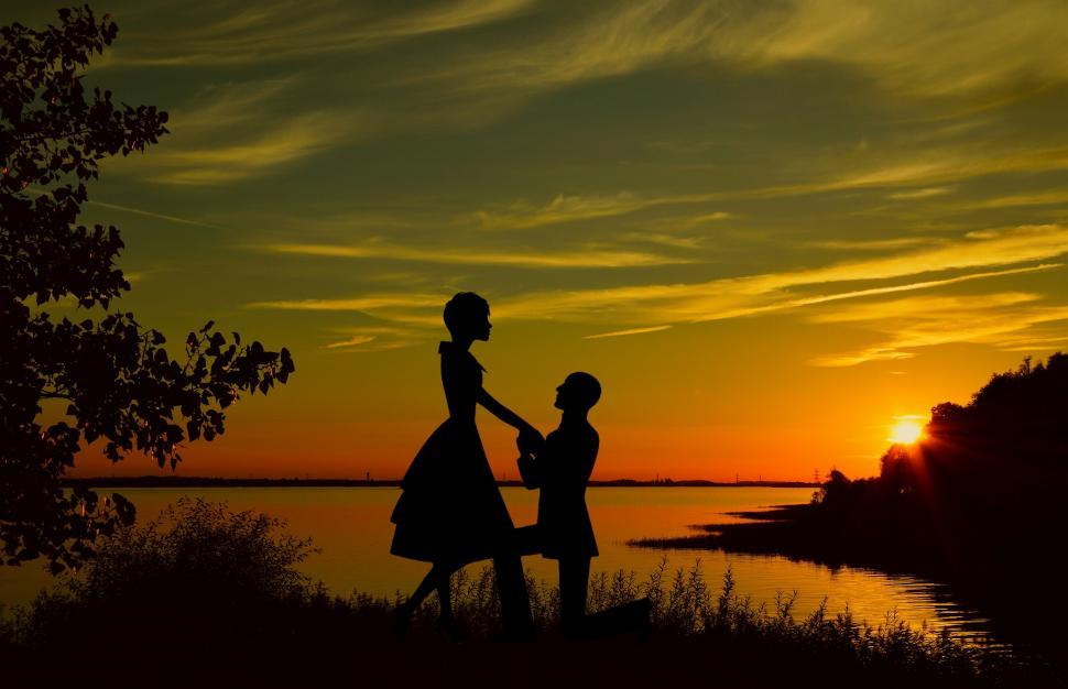 Download Free Stock Photo of lovers Silhouette
