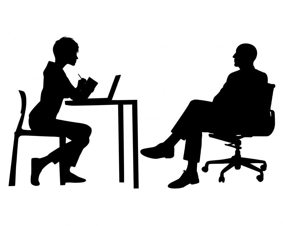 Download Free Stock Photo of Manager and secretary Silhouette