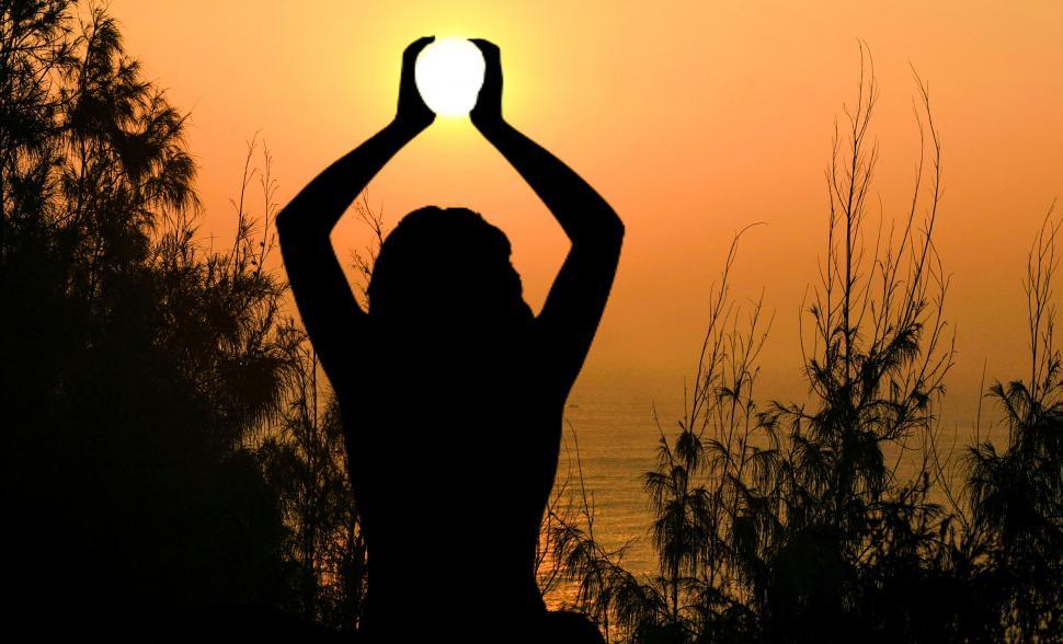 Download Free Stock HD Photo of yoga pose sunset   Online