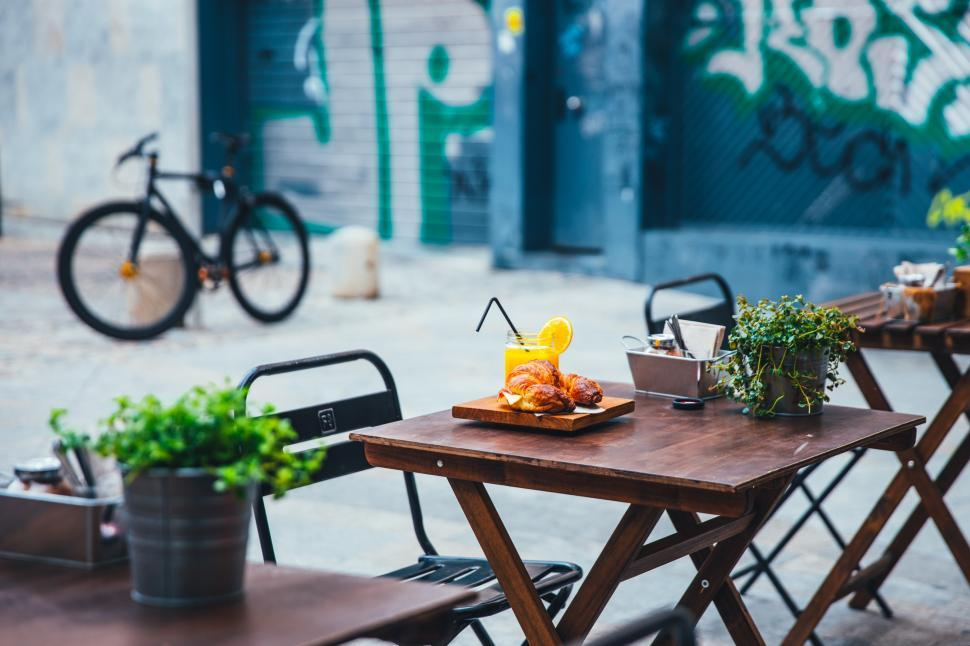 Download Free Stock HD Photo of A view of a cafe patio Online