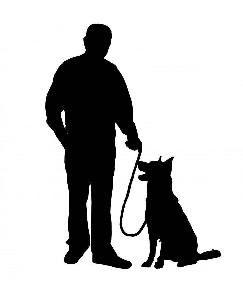 Download Free Stock Photo of man and dog Silhouette