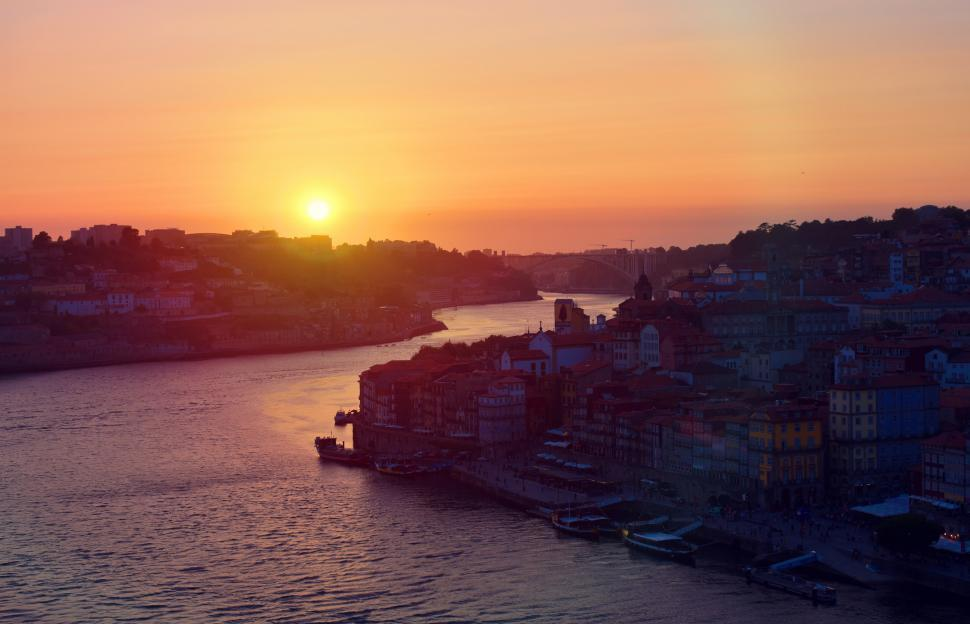 Download Free Stock Photo of Sunset - Porto - Old Town