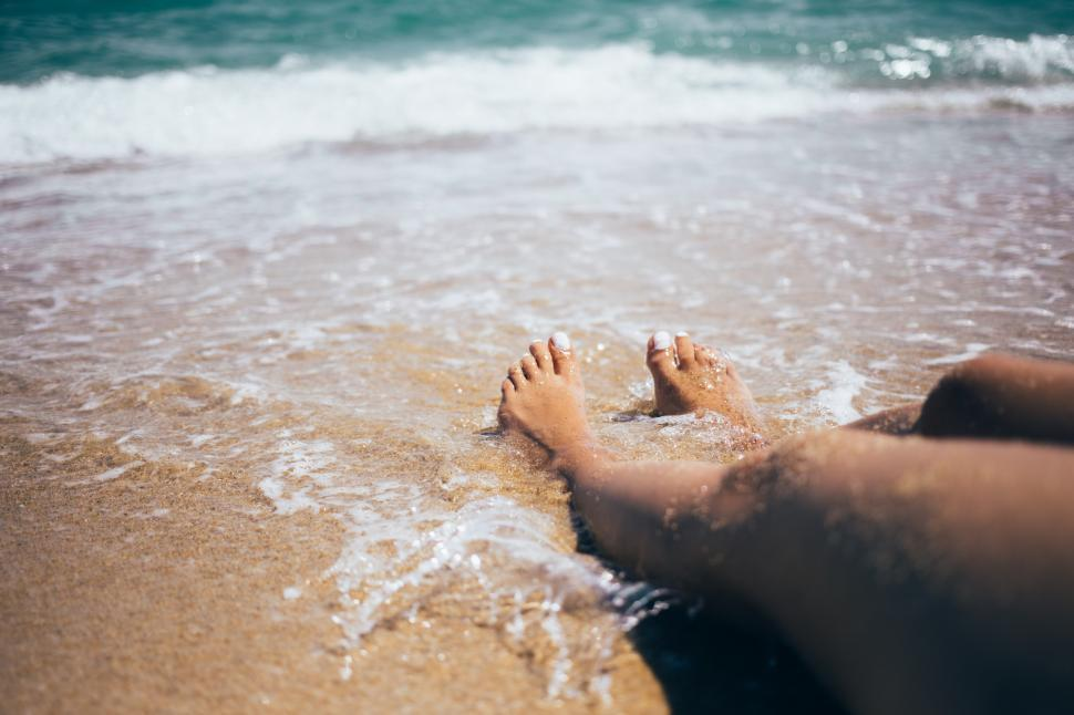 Download Free Stock HD Photo of Sandy feet on the beach Online