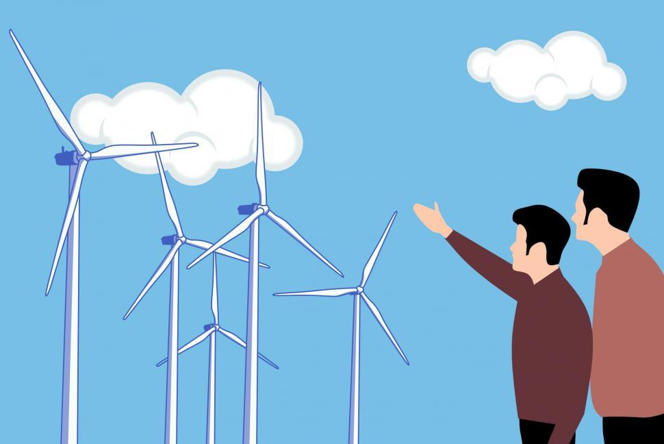 Download Free Stock Photo of wind farm Illustration