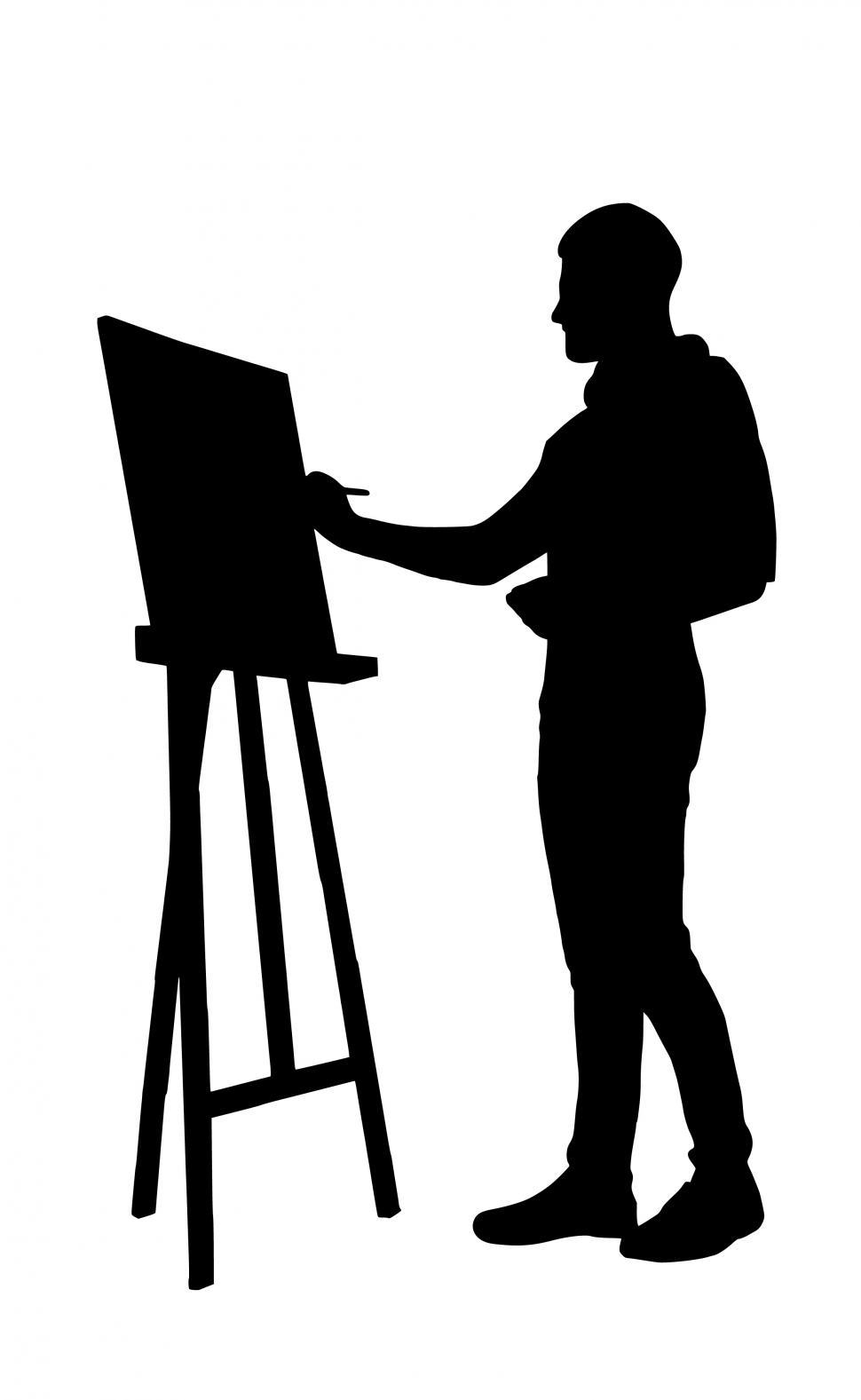 Download Free Stock Photo of artist painting Silhouette