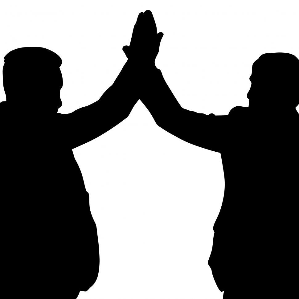 Download Free Stock Photo of high five Silhouette