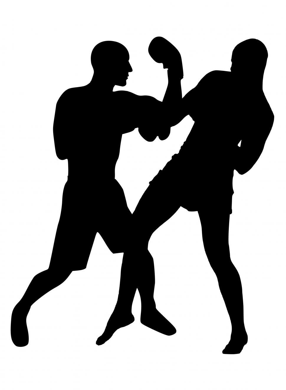 Download Free Stock Photo of boxing match Silhouette