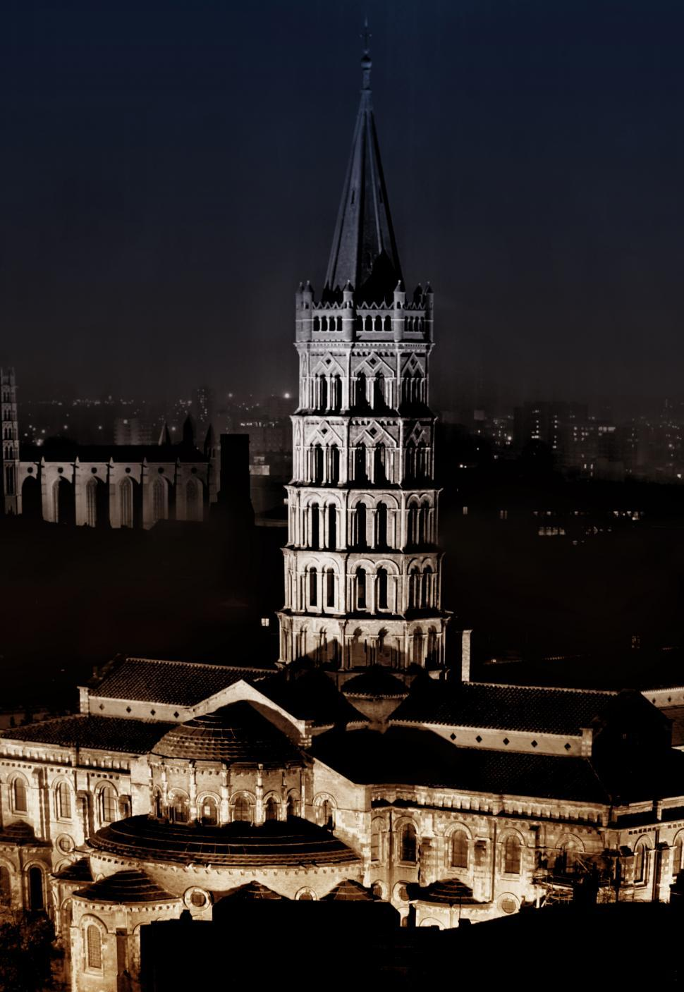 Download Free Stock HD Photo of Basilica of Saint Sernin at Night - Toulouse - France Online