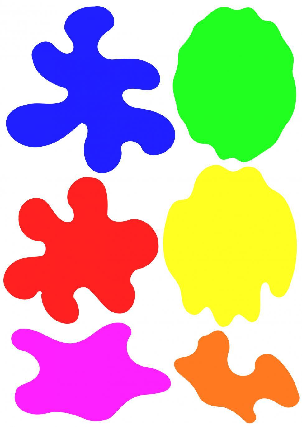 Download Free Stock Photo of Colorful different shapes blobs on white background