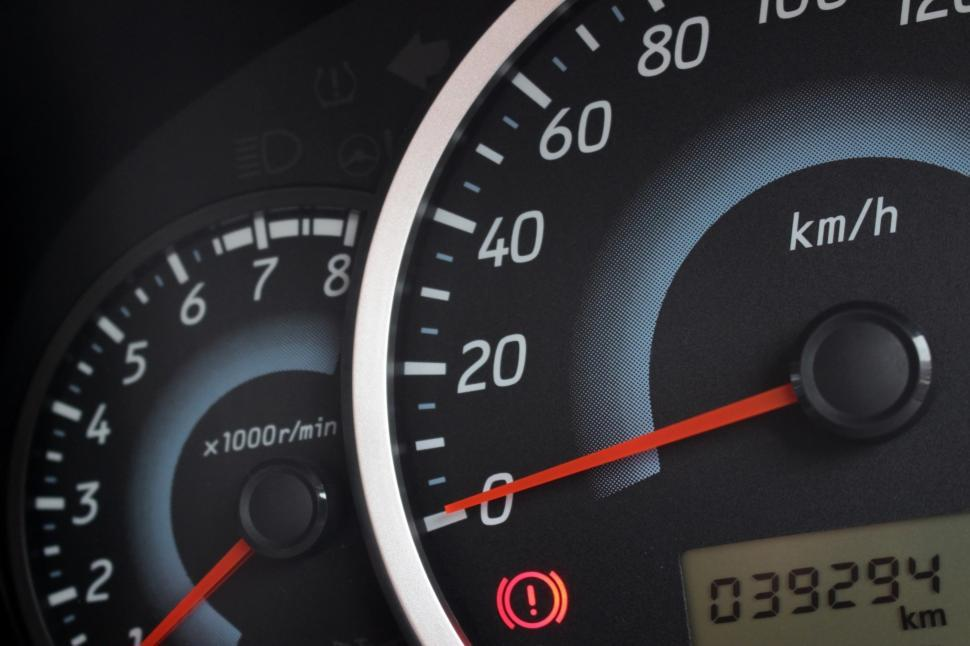 Download Free Stock HD Photo of Detail of the rev counter, speedometer and odometer of a modern car  Online