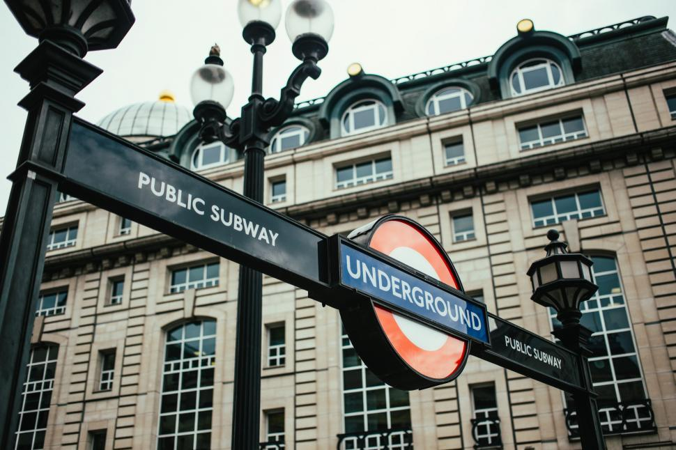 Download Free Stock Photo of London underground public subway  signboard