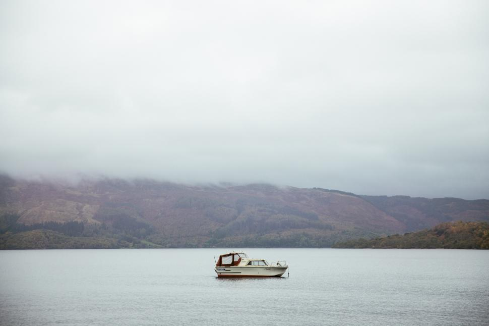 Download Free Stock Photo of A white boat parked in English waters