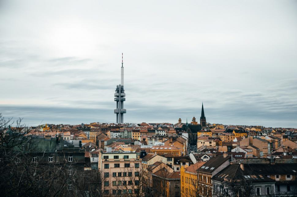 Download Free Stock HD Photo of Zizkov tv tower, Prague from distance Online