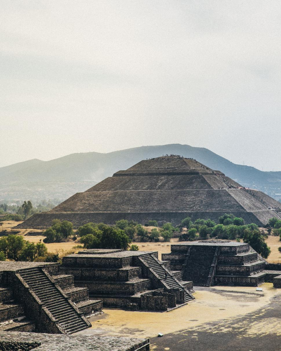 Download Free Stock HD Photo of Pyramid of the Sun with Distant Mountains,Mexico Online