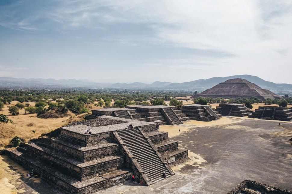 Download Free Stock Photo of Distant view of pyramid of the Sun in State of Mexico, Mexico
