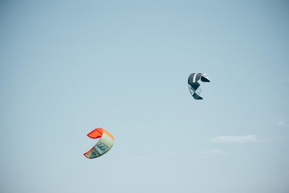 Download Free Stock Photo of Colorful surfing kites
