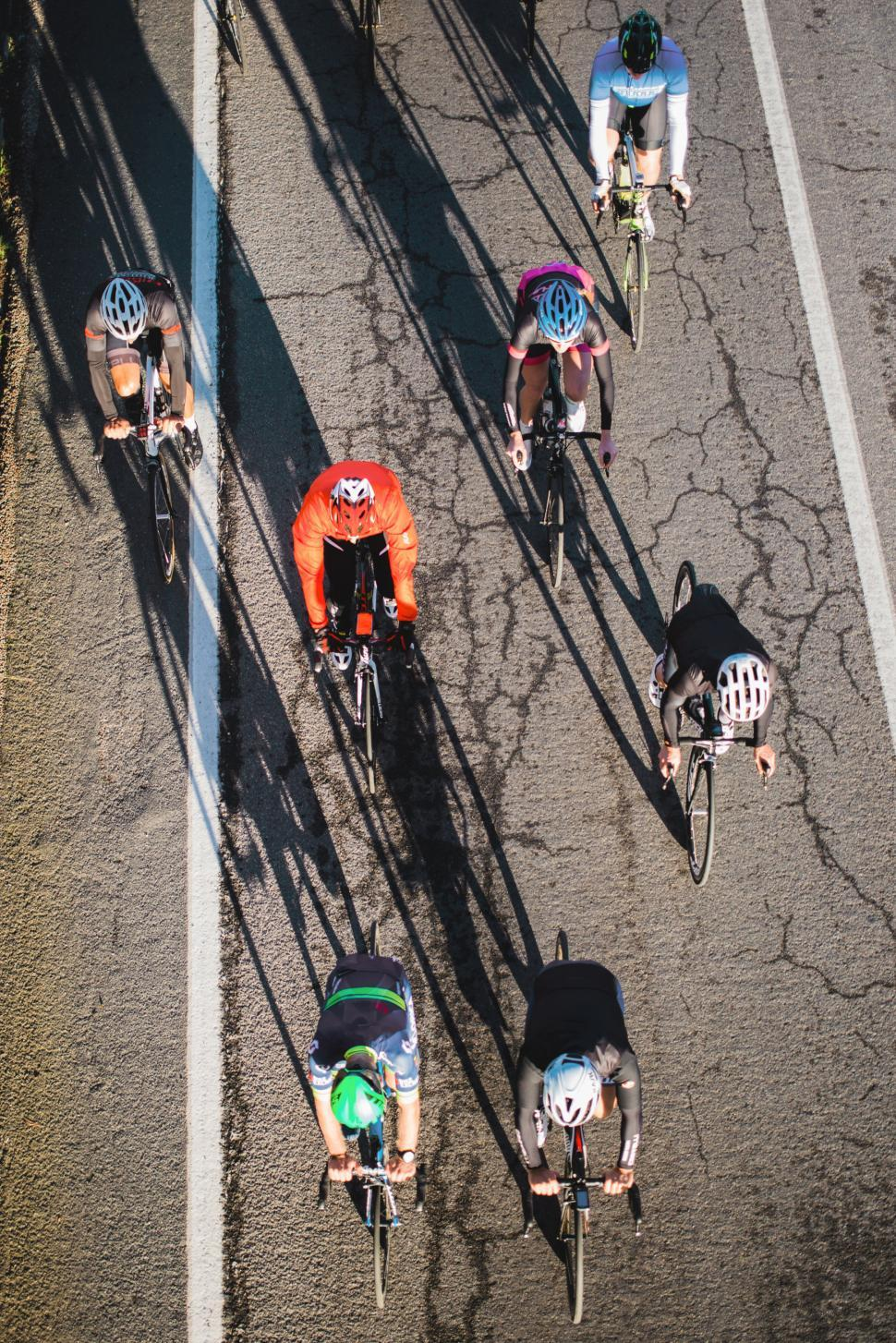Download Free Stock Photo of Bicycle race view from above