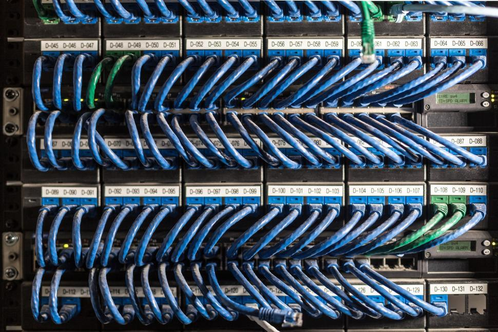 Download Free Stock Photo of Ethernet cables connected